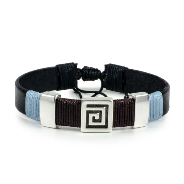 Black Leather Handmade Bracelet Greek Meander Brown & Blue