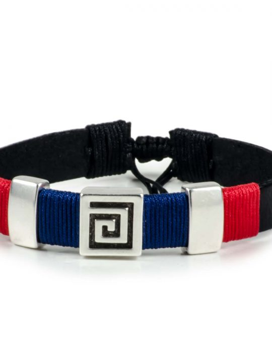 Black Leather Handmade Bracelet Greek Meander Navy Blue & Red