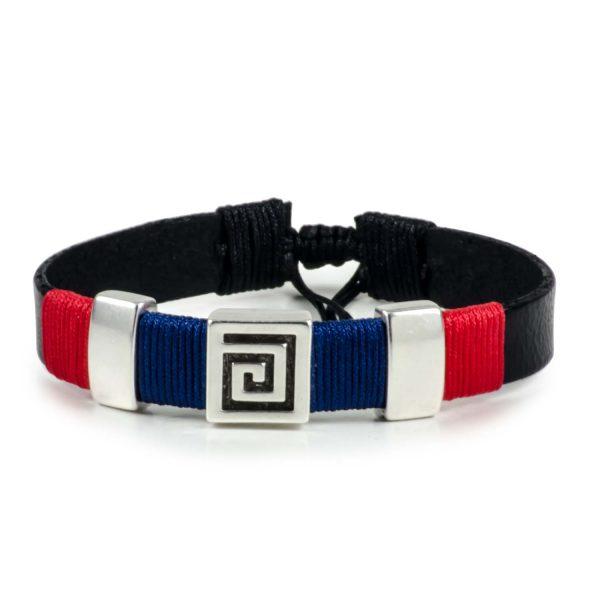 Black Leather Handmade Bracelet Greek Meander Navy Blue & Red