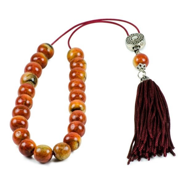 Natural Red Yellow Soft Coral Greek Worry Beads Komboloi