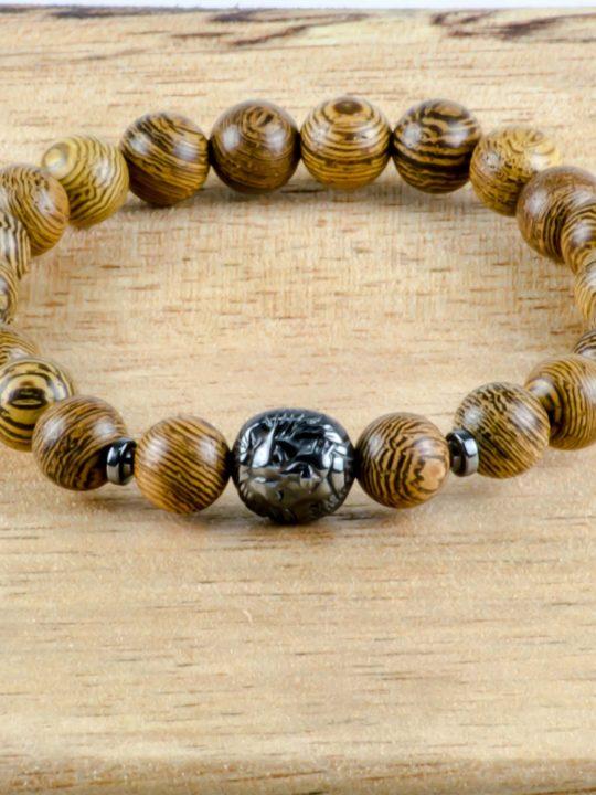Olive Wood & Hematite Lion Handmade Unisex Stretch Bracelet