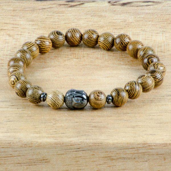 Olive Wood & Hematite Buddha Handmade Unisex Stretch Bracelet