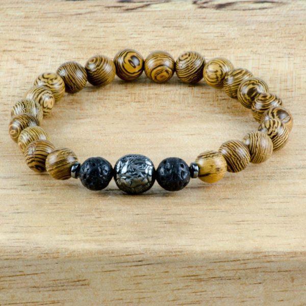 Olive Wood & Black Lava Hematite Lion Handmade Unisex Stretch Bracelet