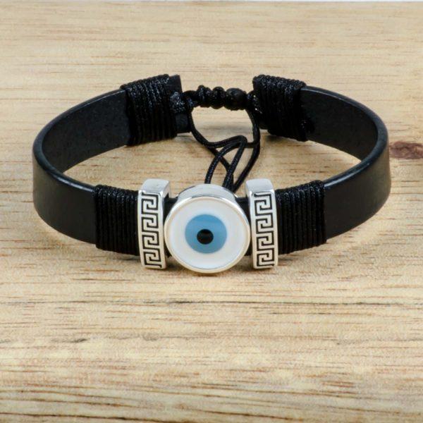 Greek Evil Eye & Meander Unisex Black Leather Bracelet