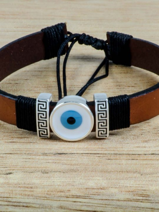 Greek Evil Eye & Meander Unisex Brown Leather Bracelet