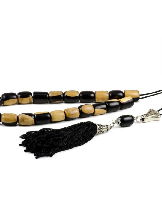 Black & White Ebony Wood Greek Worry Beads Komboloi