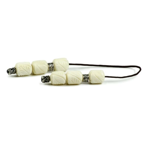 White Hand Carved Camel Bone Greek Worry Beads Begleri