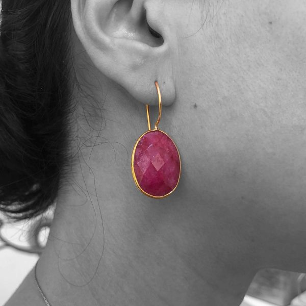Faceted Root Ruby Gemstone Dangle Drop Earrings Sterling Silver 14k Gold Plated