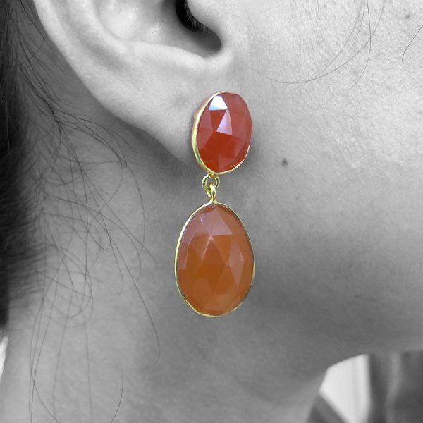 Faceted Carnelian Gemstone Dangle Drop Earrings Sterling Silver 14k Gold Filled