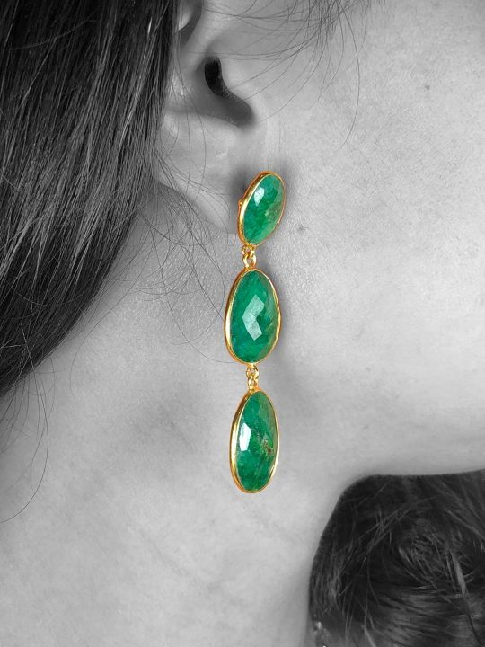 Faceted Green Root Emerald Push Back Dangle Drop Earrings
