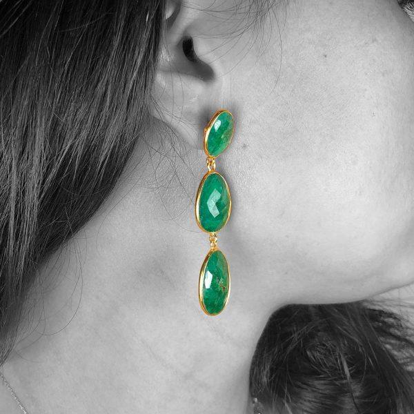 Faceted Green Root Emerald Push Back Dangle Drop Earrings
