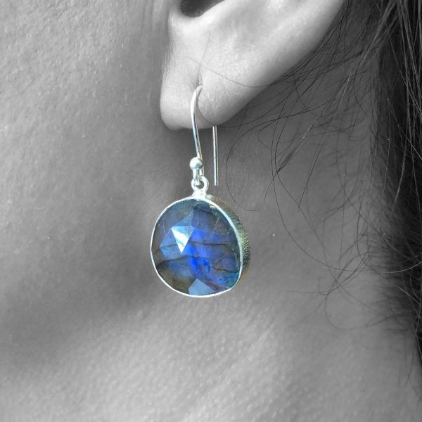 Faceted Labradorite Dangle Drop Earrings Solid 925 Sterling Silver
