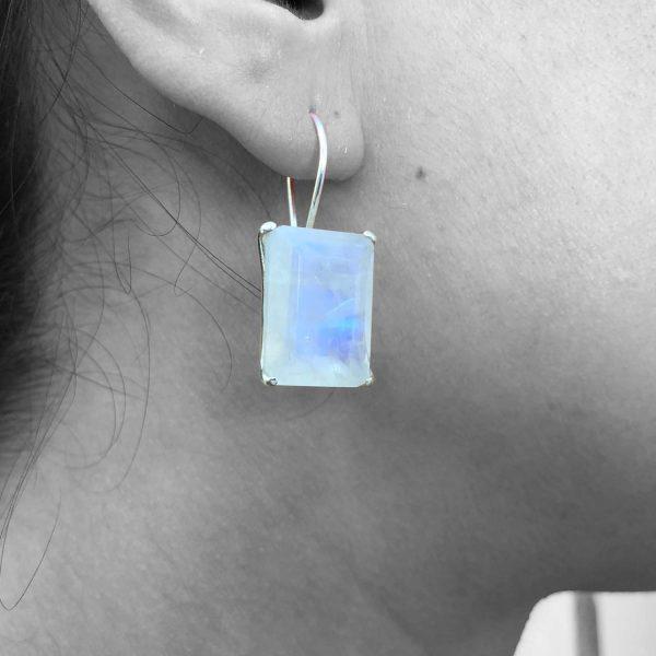 Rainbow Moonstone Gemstone Dangle Drop Earrings Sterling Silver 925
