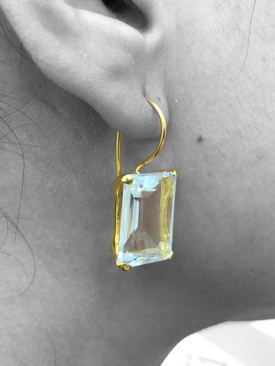 Quartz Gemstone Dangle Drop Earrings Sterling Silver 14k Gold Filled