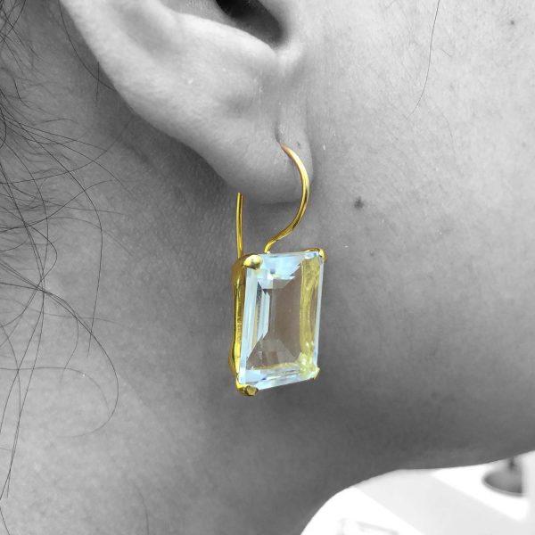 Quartz Gemstone Dangle Drop Earrings Sterling Silver 14k Gold Filled