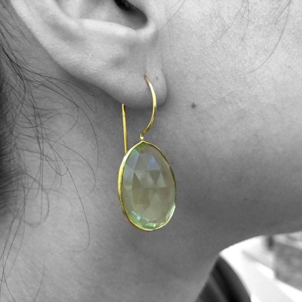 Faceted Lemon Quartz Gemstone Dangle Drop Earrings Sterling Silver 14k Gold Plated