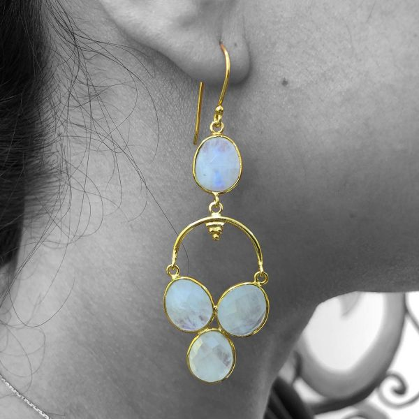 Rainbow Moonstone Gemstone Dangle Drop Earrings Sterling Silver 14k Gold Plated