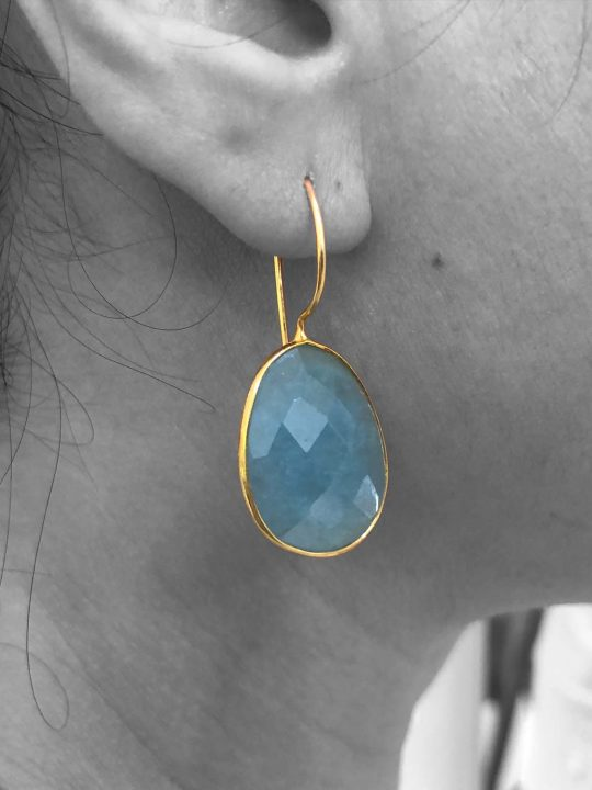 Faceted Aquamarine Gemstone Dangle Drop Earrings Sterling Silver 14k Gold Plated
