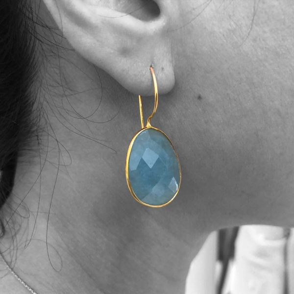Faceted Aquamarine Gemstone Dangle Drop Earrings Sterling Silver 14k Gold Filled