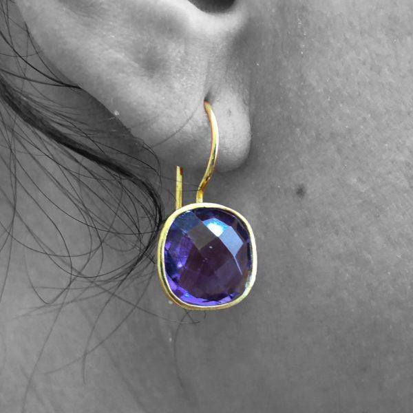 Faceted Amethyst Gemstone Dangle Drop Earrings