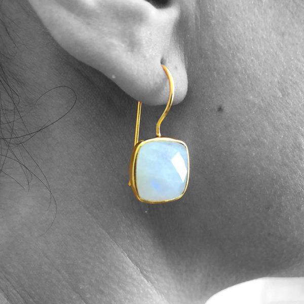 Rainbow Moonstone Gemstone Dangle Drop Earrings Sterling Silver 14k Gold Filled