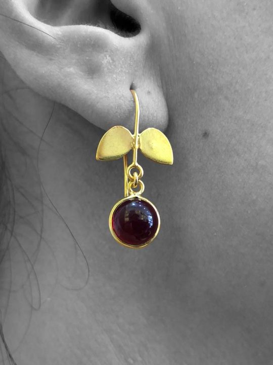 Cabochon Pyrope Garnet Gemstone Dangle Drop Earrings Sterling Silver 14k Gold Plated