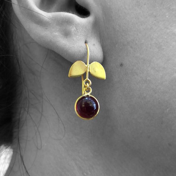 Cabochon Pyrope Garnet Gemstone Dangle Drop Earrings Sterling Silver 14k Gold Filled