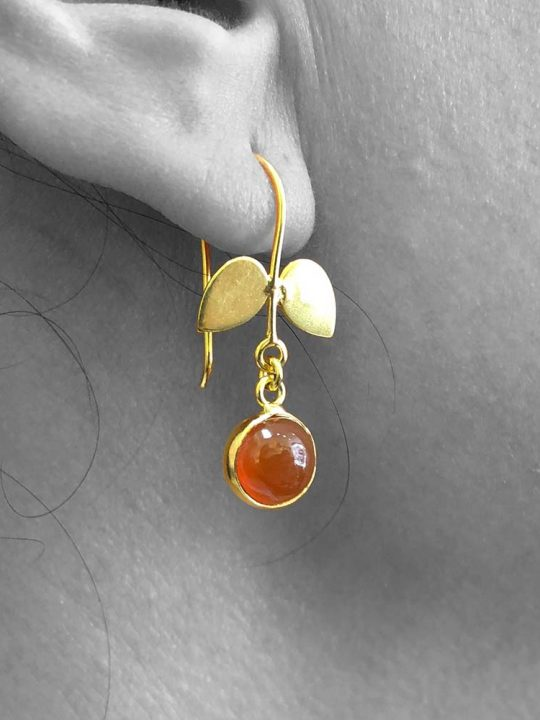 Cabochon Carnelian Gemstone Dangle Drop Earrings Sterling Silver 14k Gold Filled