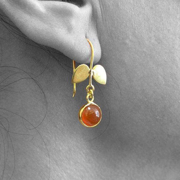 Cabochon Carnelian Gemstone Dangle Drop Earrings Sterling Silver 14k Gold Filled