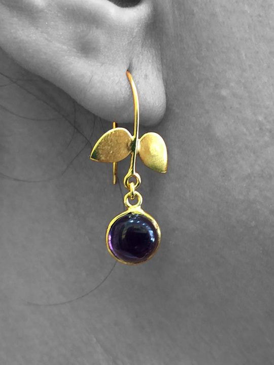 Cabochon Amethyst Gemstone Dangle Drop Earrings Sterling Silver