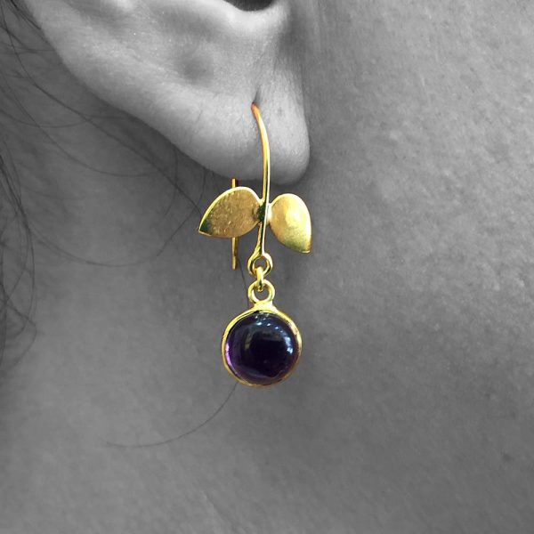 Cabochon Amethyst Gemstone Dangle Drop Earrings Sterling Silver 14k Gold Filled