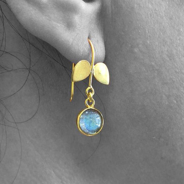 Cabochon Labradorite Gemstone Dangle Drop Earrings Sterling Silver