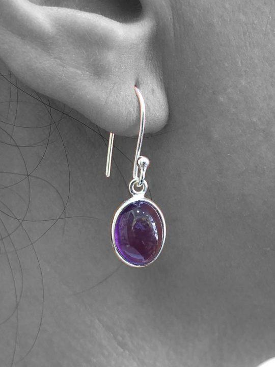 Cabochon Amethyst Gemstone Dangle Drop Earrings
