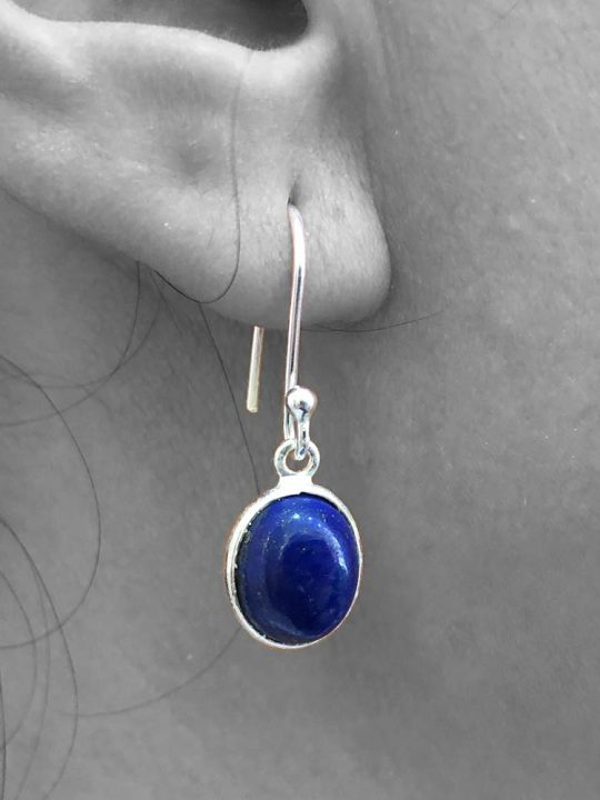 Cabochon Lapis Lazuli Gemstone Dangle Drop Earrings 925 Sterling Silver