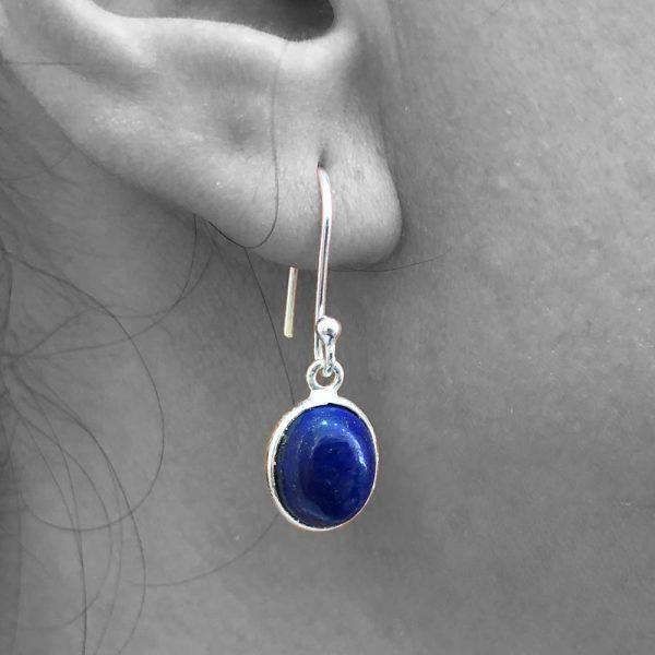 Cabochon Lapis Lazuli Gemstone Dangle Drop Earrings 925 Sterling Silver