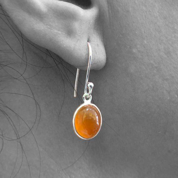 Cabochon Carnelion Gemstone Dangle Drop Earrings 925 Sterling Silver
