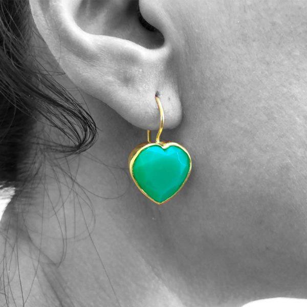 Faceted Green Chrysoprase Gemstone Heart Heart Shape Earrings