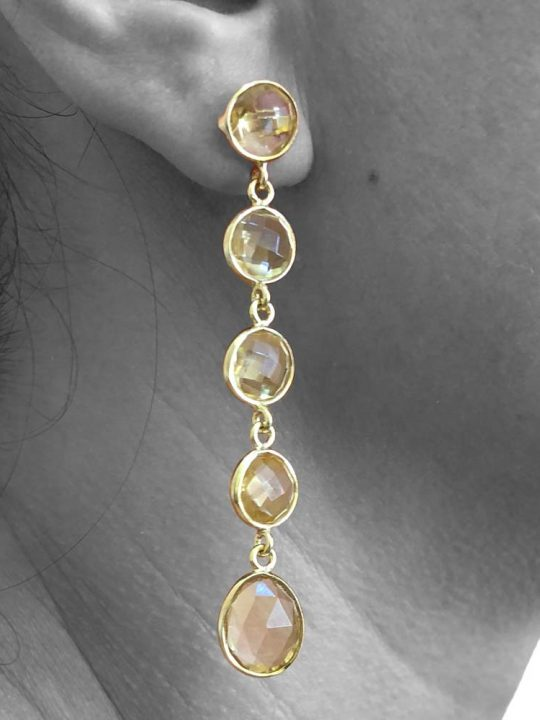 Faceted Citrine Gemstone Dangle Drop Earrings Sterling Silver 14k Gold Filled