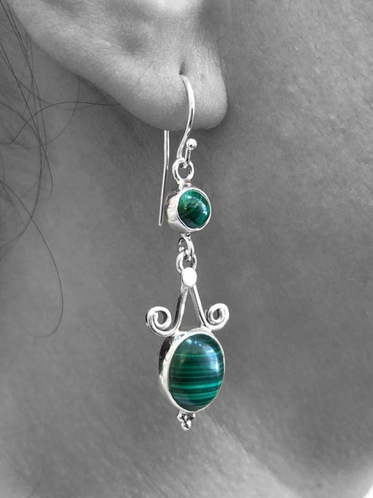Malachite Gemstone Dangle Heart Drop Earrings 925 Sterling Silver