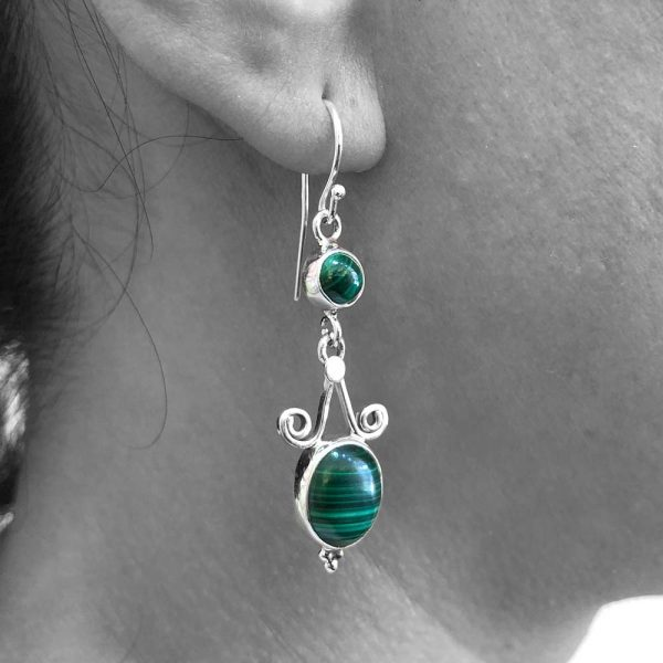 Malachite Gemstone Dangle Heart Drop Earrings 925 Sterling Silver