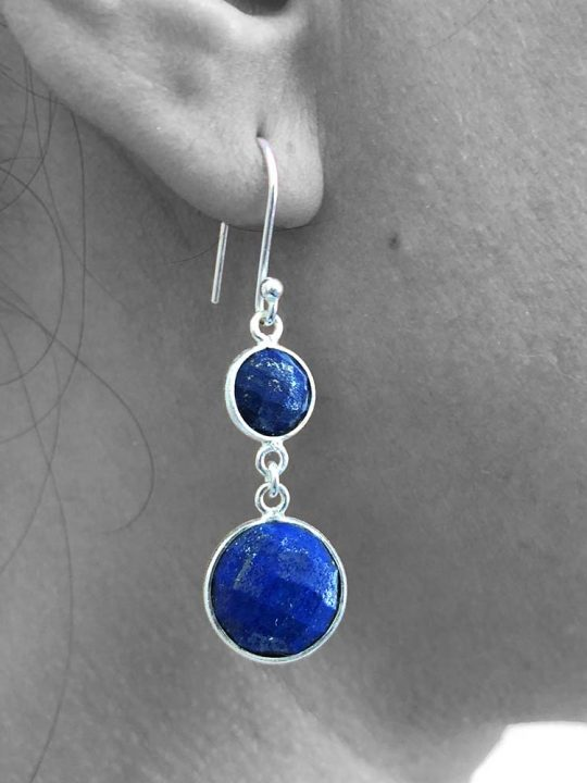 Faceted Lapis Lazuli Gemstone Dangle Drop Earrings 925 Sterling Silver