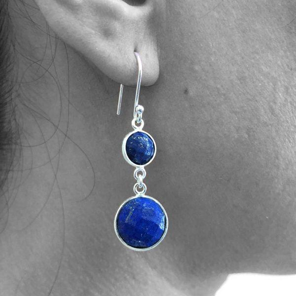 Faceted Lapis Lazuli Gemstone Dangle Drop Earrings 925 Sterling Silver