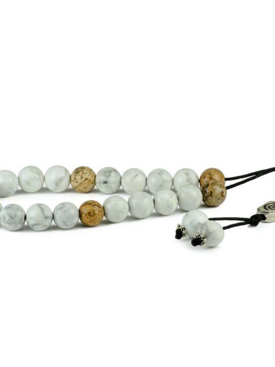 Natural White Gray Howlite & Jasper Gemstone Greek Worry Beads Komboloi