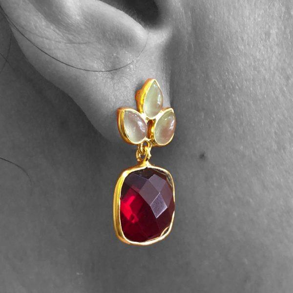 Faceted Pyrope Garnet & Prehnite Gemstone Dangle Drop Earrings Sterling Silver 14k Gold Filled