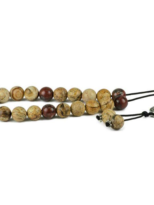 Red & Yellow Jasper Gemstone Greek Worry Beads Komboloi