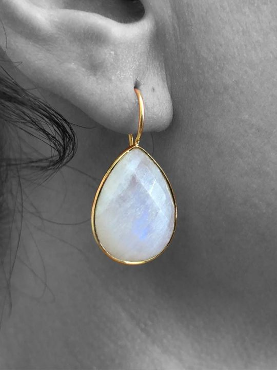Teardrop Rainbow Moonstone Gemstone Dangle Drop Earrings