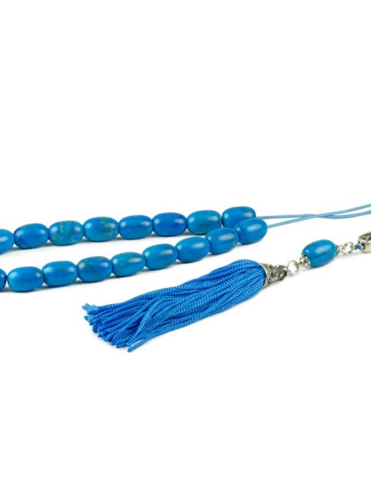 Blue Turquoise Howlite Gemstone Greek Worry Beads Komboloi
