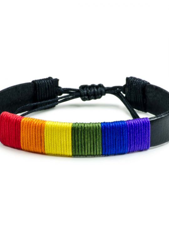 Pride Bracelet Rainbow Flag LGBT Unisex Black Leather Bracelet