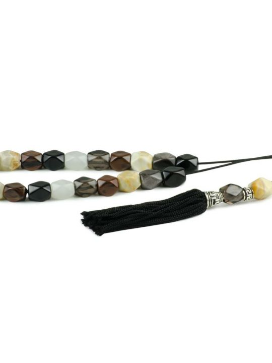 White Onyx & Obsidian Mixed Gemstone Greek Worry Beads Komboloi