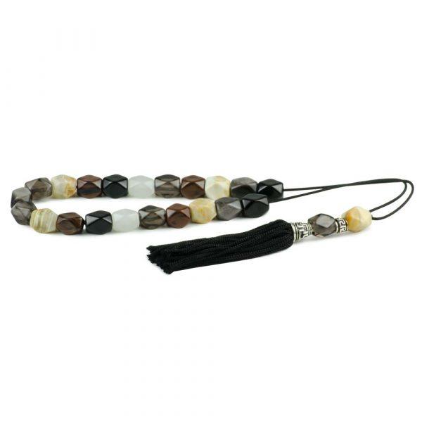White Onyx & Obsidian Mixed Gemstone Greek Worry Beads Komboloi